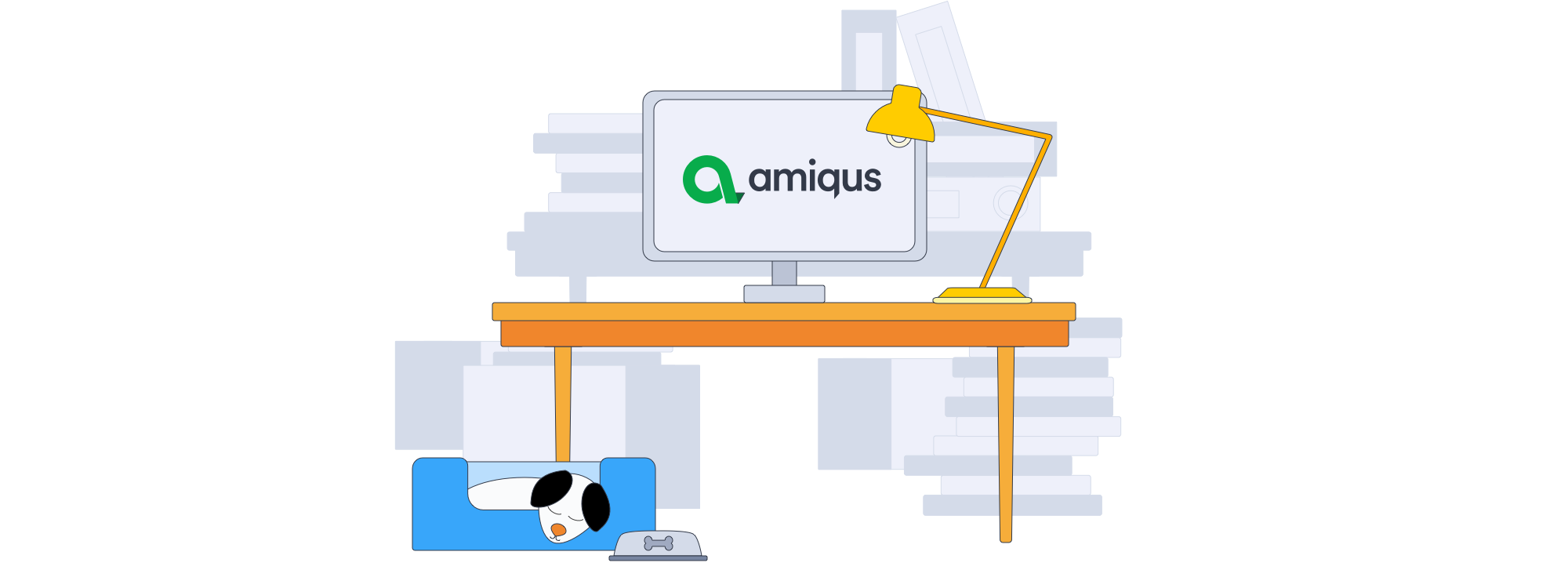 An illustration of an Amiqus desk.